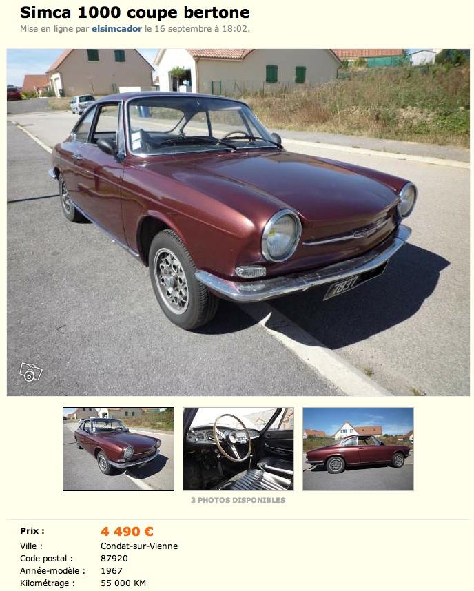 Simca 1000 coupe bertone bordeaux - Simca 1000 coupe bertone a vendre ...