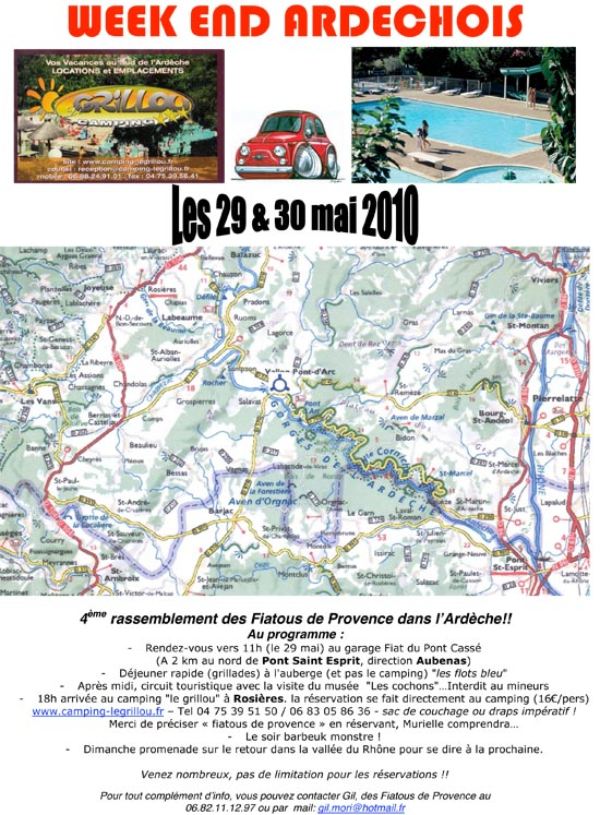 sortie fiat 500 2010 en ardèche avec les fiatous de Provence