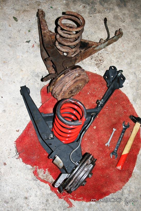restauration du freinage d'une fiat 500 Gamine vignale